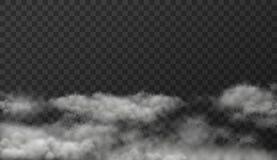 Vectorillustratie van witte rokerige wolken op transparante achtergrond stock illustratie