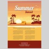 Vectorillustratie van zonsondergang overzees eiland Stock Afbeelding