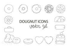 Vectorillustratie van zwart-witte doughnuts stock illustratie