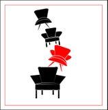 Vectorillustratie van zwarte en rode leunstoelen Stock Foto's
