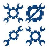 Vectorillustratie vastgestelde mechanisch met dwarsmoersleutel en pinio Stock Afbeeldingen