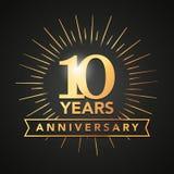 Vectorillustratie 10 Verjaardags gouden aantallen met gouden banner Malplaatje van de de gebeurtenispartij van de vierings het 10 vector illustratie