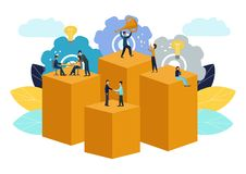 Vectorillustratie, virtuele bedrijfsmedewerker groepswerk, brainstorming, nieuwe idee?n, het bereiken doelstellingen, nieuwe over vector illustratie