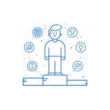 Vectorillustratie in vlak gewaagde lineaire stijl met jongen en blauwe pictogrammen Stock Afbeelding
