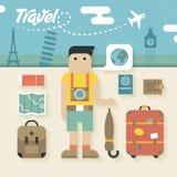 Vectorillustratie: Vlakke Pictogrammenreeks van Reisvakantie Stock Foto's