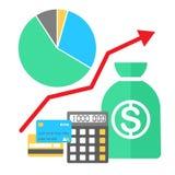 Vectorillustratie in vlakke stijl Financiën het groeien Stock Afbeeldingen