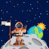 Vectorillustratie in vlakke stijl over kosmische ruimte Royalty-vrije Stock Fotografie