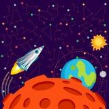 Vectorillustratie in vlakke stijl over kosmische ruimte Stock Afbeelding