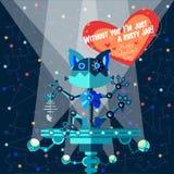 Vectorillustratie in vlakke stijl over Robot De kaart van de groet Royalty-vrije Stock Foto
