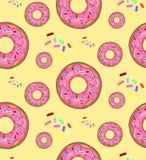 Vectorillustratie, voedsel, patroon, donuts royalty-vrije stock afbeeldingen