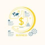 Vectorillustratie voor bedrijfsinfographics met geld Stock Foto