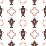 Vectorillustratie voor de Shrovetide-feest Naadloze achtergrond Samovars, nationale patronen Stock Afbeeldingen