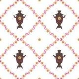 Vectorillustratie voor de Shrovetide-feest Naadloze achtergrond Samovars, nationale patronen Royalty-vrije Stock Afbeelding