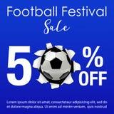 Vectorillustratie voor de verkoopachtergrond van het voetbalfestival Royalty-vrije Stock Foto's