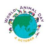 Vectorillustratie voor de Wereld Dierlijke Dag op 4 Oktober Veelhoekige dieren op de bol Een olifant, een rinoceros, a vector illustratie