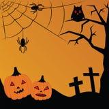 Vectorillustratie voor Halloween Pompoen, kruisen, spinnewebben, SP Royalty-vrije Stock Foto's