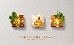 Vectorillustratie voor Kerstmis en Nieuwjaar Drie ingepakt GIF stock illustratie