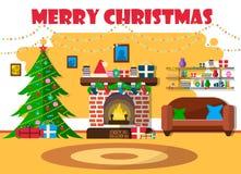 Vectorillustratie voor Kerstmis met Kerstboom en retro meubilair Vlak ontwerp met sparren en open haard royalty-vrije illustratie