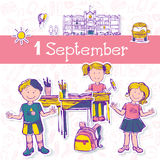 Vectorillustratie voor vakantie 1 september Royalty-vrije Stock Foto's