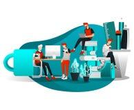 Vectorillustratie voor Webpagina, Element, Banner, Presentatie, Affiche, Landingspagina, Vlieger, App Groep Mensen die het Werken royalty-vrije illustratie
