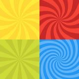 Vectorillustratie voor wervelingsontwerp Wervelende radiale patroonreeks als achtergrond Vierkant van de draaikolk starburst het  Stock Foto's