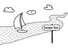 Vectorillustratie, zeilbootvlotters op de rivier Stock Afbeeldingen