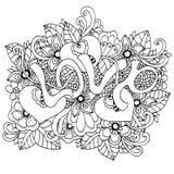 Vectorillustratie zentangl, de woordliefde in bloemen Vectoreps 10 Het kleuren boek antispanning voor volwassenen meditative vector illustratie