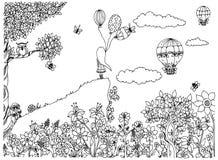 Vectorillustratie zentangl meisje op de berg met ballons Tuin, krabbelbloemen, wolken, boom, uil, zenart Stock Foto