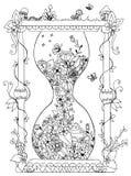 Vectorillustratie zentangl zandloper met bloemen Tijd, het bloeien, de lente, krabbel, zenart, de zomer, paddestoelen, aard Stock Afbeeldingen