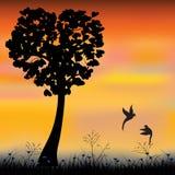 Vectorillustratie, Zoete Vogelminnaars Stock Afbeeldingen