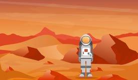 Vectorillustratieastronaut in een spacesuit op Mars of een andere planeet met prcky woestijnlandschap stock illustratie