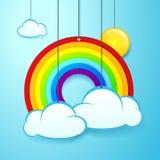 Vectorillustratiebanner van het hangen van regenboog, zon en wolken royalty-vrije illustratie
