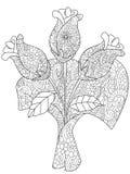 Vectorillustratieboeket van drie rozen die boek kleuren Stock Afbeeldingen