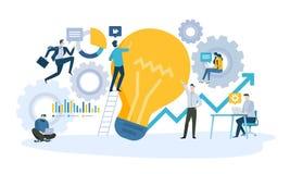 Vectorillustratieconcept bedrijfswerkschema, van idee aan product of de dienst royalty-vrije illustratie