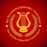 Vectorillustratieconcept filharmonisch embleem met lier Goud op rode achtergrond royalty-vrije illustratie