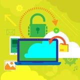 Vectorillustratieconcepten voor gegevensbescherming, en Internet-veiligheid Concepten voor Webbanners royalty-vrije illustratie
