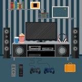 Vectorillustratieflat met een huisbioskoop Illustratie F Stock Foto's