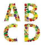 Vectorillustratiefruit en plantaardige alfabetbrief stock illustratie