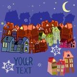 Vectorillustratiehuizen, met plaats voor uw tekst NightÑŽ Stock Afbeeldingen