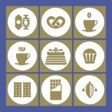 Vectorillustratiekoppen koffie, thee, cakes, suikergoed, cacaobonen en chocoladepictogrammen royalty-vrije illustratie