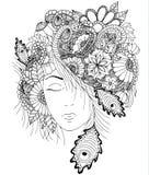 Vectorillustratiemeisje met bloemen en zentangle slak op haar hoofd Stock Foto