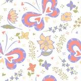 Vectorillustratiepatroon met vlinders en bloemen Stock Fotografie