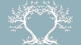 Vectorillustratieprentbriefkaar Uitnodiging en groetkaart met de bomen in de vorm van een hart Patroon voor de laserbesnoeiing, royalty-vrije illustratie