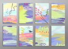 Vectorillustratiereeks artistieke kleurrijke universele kaarten Borsteltexturen Huwelijk, verjaardag, verjaardag, vakantie Stock Foto