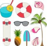 Vectorillustratiereeks de zomer mooie dingen royalty-vrije illustratie