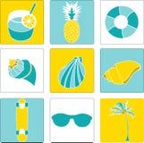 Vectorillustratiereeks de zomer mooie dingen Vector Illustratie