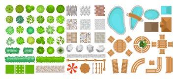 Vectorillustratiereeks parkelementen voor landschapsontwerp Hoogste mening van bomen, openluchtmeubilair, installaties en stock foto's
