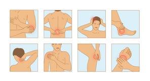 Vectorillustratiereeks Pijntypes Verschillende soorten pijn in hoofd, hals, lidmaten, knieën en terug in vlakke stijl royalty-vrije illustratie