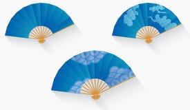 Vectorillustratiereeks van blauwe Japanse ventilator Stock Afbeeldingen