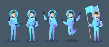 Vectorillustratiereeks van de ruimtevaarder van beeldverhaalkarakters in verschillende posities, bewegende kosmonaut in spacesuit stock illustratie